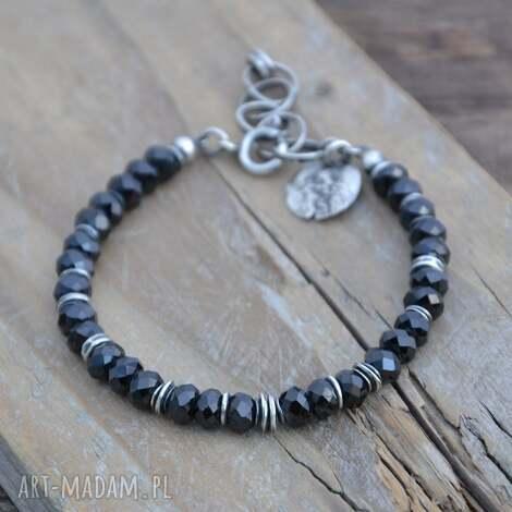 czarny spinel bransoletka, spinel, srebro, surowa, organiczna, prezenty na święta