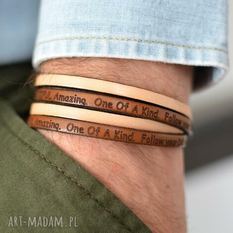 bransoletka męska hombree motto brown, bransoletka, skóra, męska, motto, stal