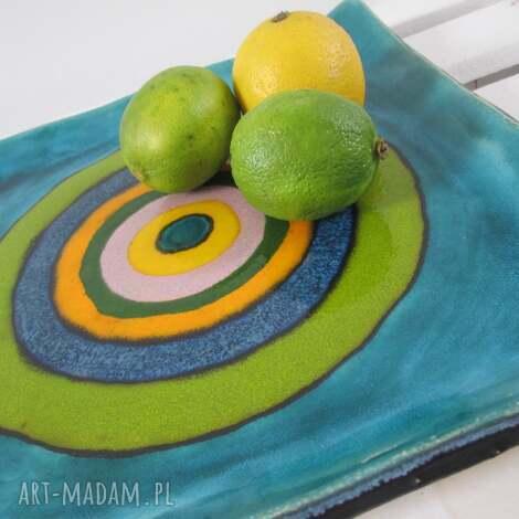 kwadratowy artystyczny talerz, patera, ceramiczna, kolorowy, ceramiczny