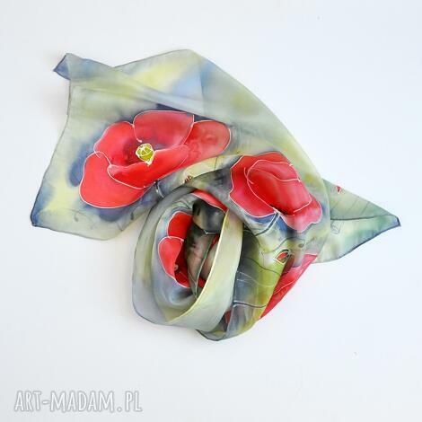 malowany szal - maki na zielononiebieskim, kwiatowy szal, w kwiaty, jedwabny szalik