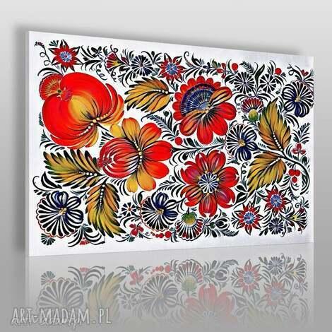 obraz na płótnie - kwiaty folklor 120x80 cm 78301, kwiaty, folk