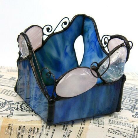 świecznik niebieski z kryształami, witrażowy, nastrojowy, kamieni, kwarc