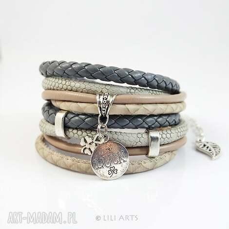 bransoletka - luck - szara, rzemienie, owijana, koniczynka, na szczęście