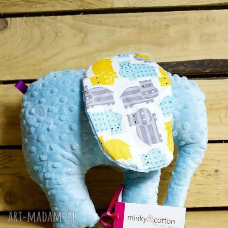 maskotki mięciutki słonik - minky bawełna hipcie, zabawka, pluszak, minky,