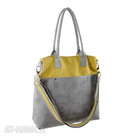 fiella - duŻa torba - musztarda i szaroŚĆ - shopper, modna, miejska, prezent
