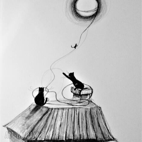 rysunek piórkiemkocie figle artystki plastyka adriany laube, koty, domek
