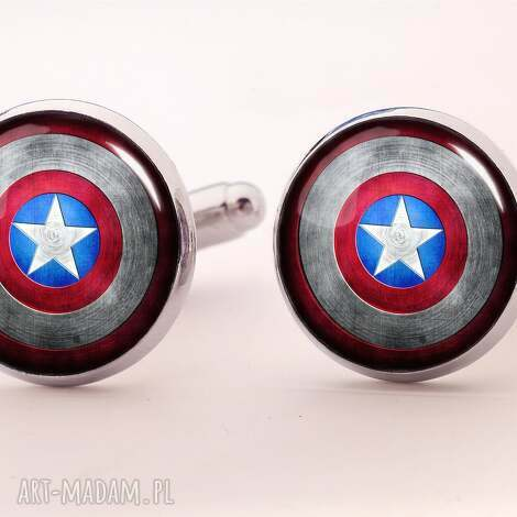 kapitan ameryka - spinki do mankietów - kapitan, ameryka, super, bohater, komiks