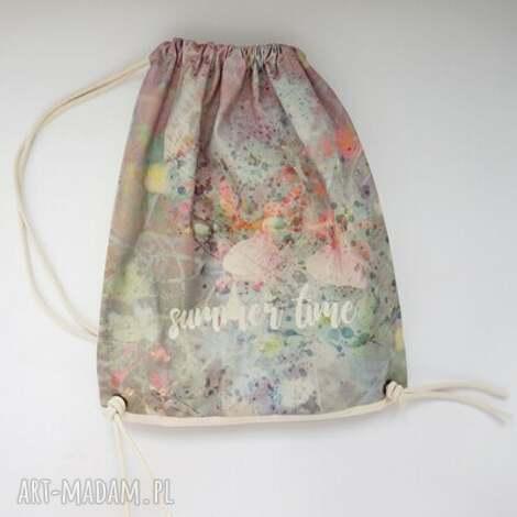 summer time plecak / worek torba - płócienna, plażowa, eco, prezent, bawełna