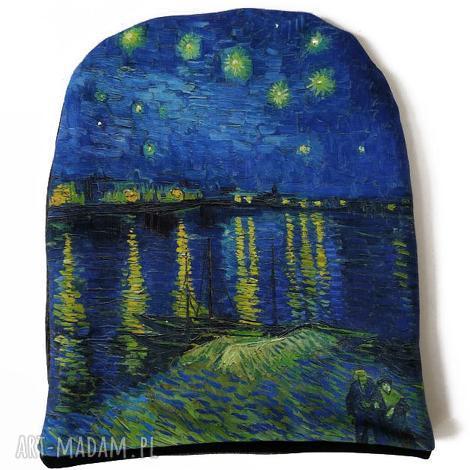 czapka gwieździsta noc - van gogh, gwiazdki, pejzaż, obraz