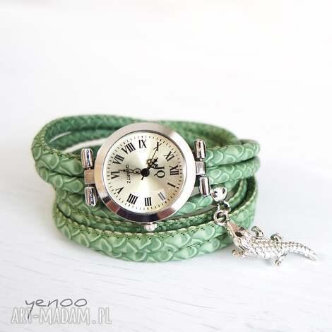 zegarek, bransoletka - zielony, wężowy krokodyl 2