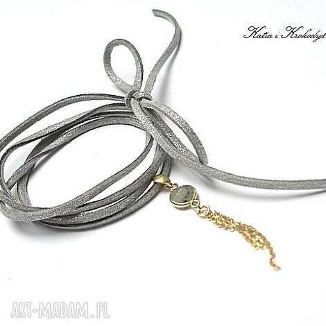 choker grey gold - naszyjnik - srebro, pozłacane, labradoryt, chwost, rzemień