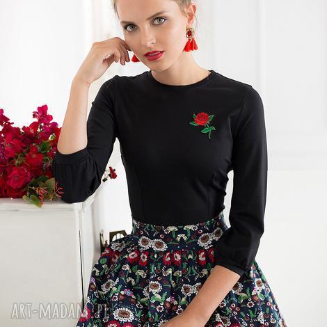 bluzka z różą czarna, bluzka, czarna, róża, elegancka, uniwersalna
