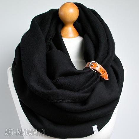 czarny komin tuba szal bawełniany z zapinką skórzaną, damski, pomysł