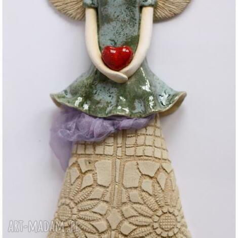 ceramika anioł wiszący z falbaną, anioł, aniolek, anielica