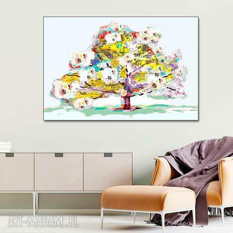 obraz na płótnie wiosenne drzewo 120 x 80, nowoczesny obraz do pokoju dziennego