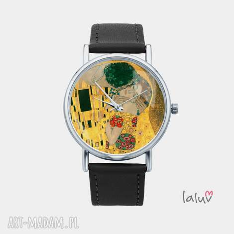 zegarek z grafiką klimt kiss, gustav, miłość, pocałunek, sztuka, obraz, prezent
