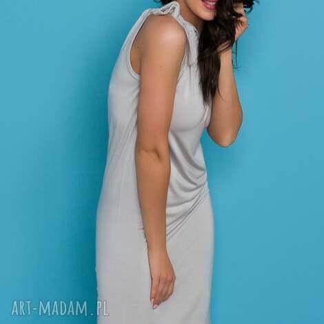 sukienka z kokardą t127 jasnoszary - sukienka, wiązana, kokarda, letnia