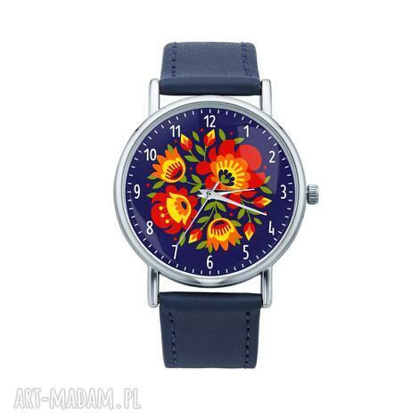 zegarek z grafiką łowicki bukiet, folk, etniczne, ludowe, grafika, prezent