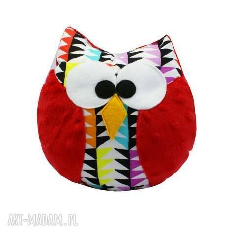 sowa zabawka, model coco, wzór mozaika, czerwona - sowa, sówka, mozaika