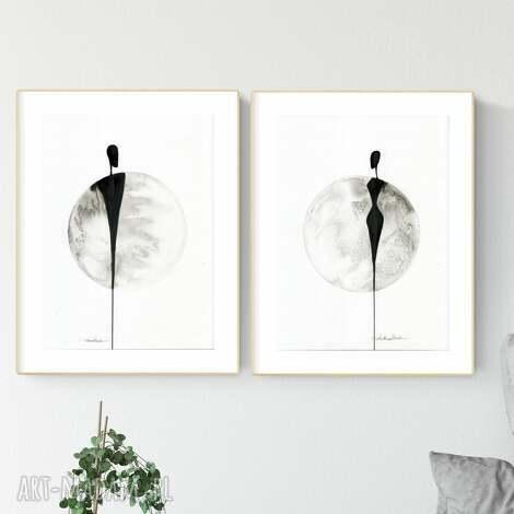 zestaw 2 grafik 30x40 cm wykonanych ręcznie, pabstrakcja, elegancki minimalizm