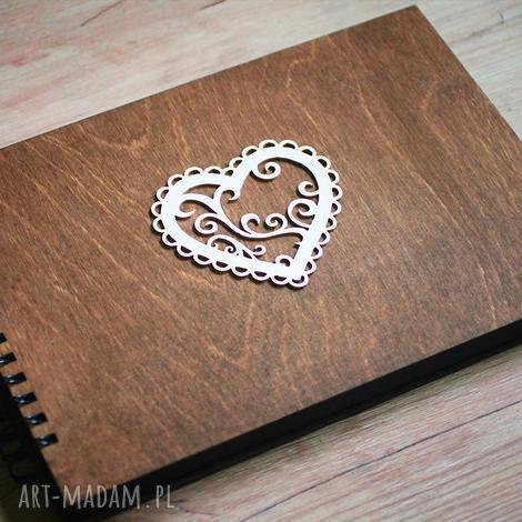 album na zdjęcia do samodzielnego wyklejania serce, album, księga, gości, wpisów