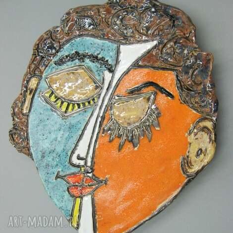 patera twarz kubistyczna, wnętrze, prezent, dekoracja, stół, ceramika