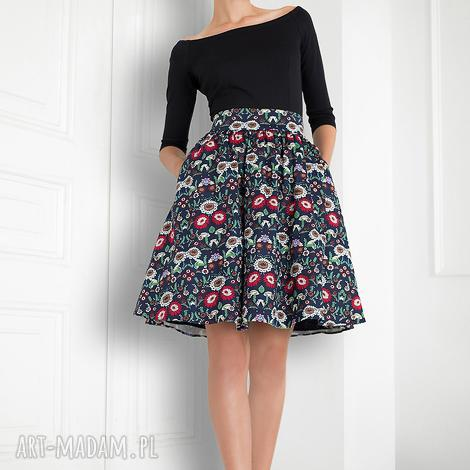 spódnica rozkloszowana folk, spódnica, kwiaty, rozkloszowana, tiul, podszewka