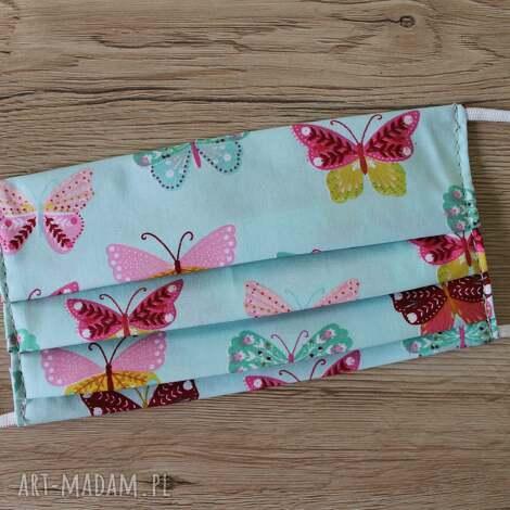 maseczki maseczka bawełniana - motylki na turkusowym tle, maska