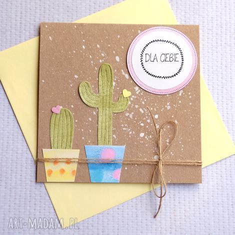kartki kaktus i owa kartka handmade dla ciebie, uniwersalna, uro, urodziny