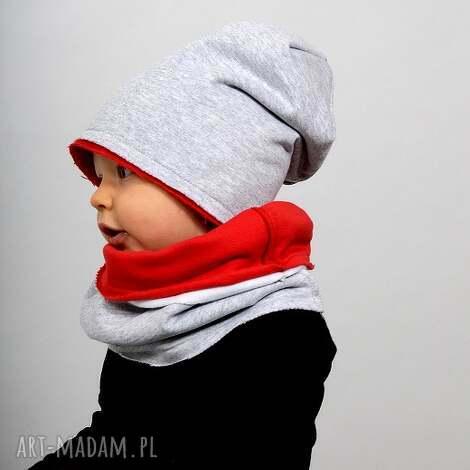 czapka zimowa podwójna szaro-czerwona, bawełna, ciepło, zima, podwójna, wygoda