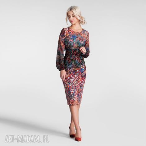 sukienki sukienka lidia midi celestia, dopasowana sukienka