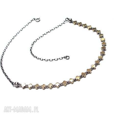 cross choker - naszyjnik - hematyt srebro krzyż