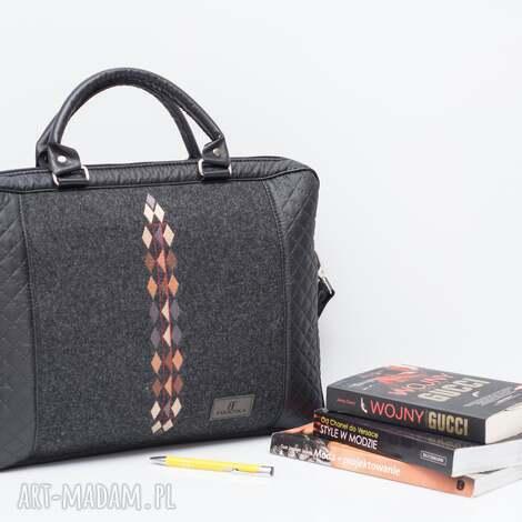 unikalny prezent, na laptopa torba romby 452, pikowana, filcowa