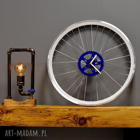 zegar blue bikes bazaar, zegar, industrialny, duży, rower, koła, ścienny dom