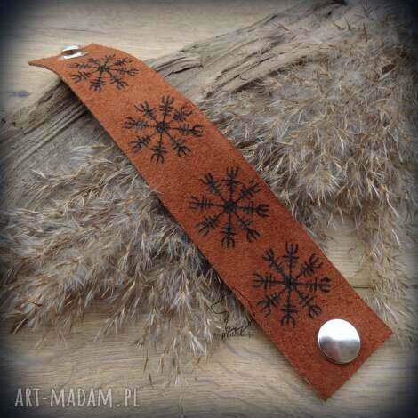 męska skórzana bransoleta na zatrzask aegishjalmur, wikingowie, wiking, runy