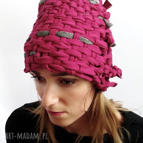 czapka tkana malinowa 2, czapka czerwona, letnia, szydełko, malinowa