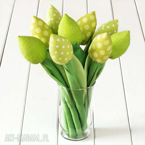tulipany zielony bawełniany bukiet, kwiaty, tulipany, prezent, dekoracja