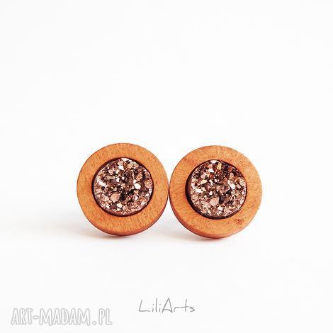 kolczyki drewniane - druzy brąz sztyfty, kolczyki, druzy, drewno, unikatowe