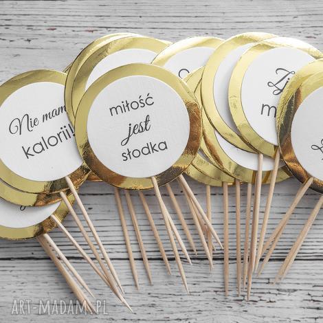 piki do deserów - gold mirror, piki, pikery, topper, ozdoba, desery