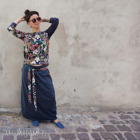komplet damski bluza i spódnica w kwiaty, maxi spódnica, bluzka