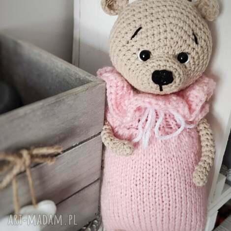 maskotki różowa miszka w sweterku, dziecko prezent, oryginalna maskotka, co