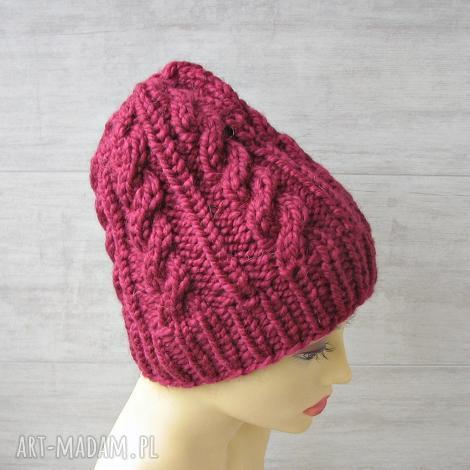 gruba czapka malina alpaka - czapka zimowa, alpaka, wełna, narty, góry, dodatki