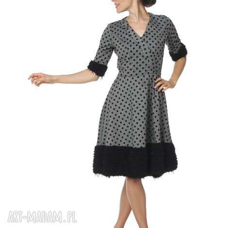 elegancka sukienka karenina black, elegancka, polska marka, pepitka, groszek, jesień