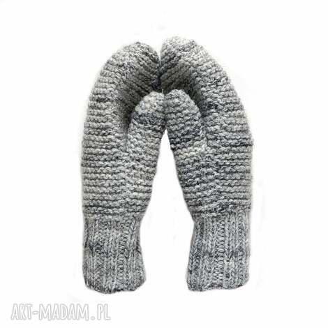 dwuwarstwowe jasno szare - melanż - rękawiczki, wełniane, mitenki, dziergane