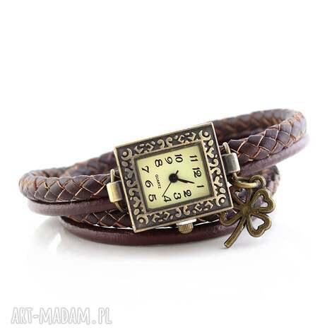 koniczynka - bransoletka zegarek, bransoletka, boho, vintage, naturalne