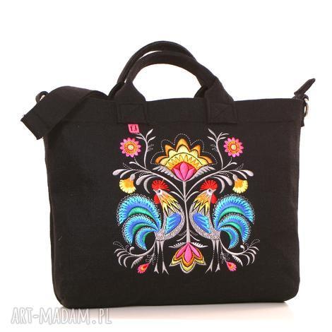 ciemna filcowa torba z folkowymu kogutami, torebka, filcowa, haftowana, laptop