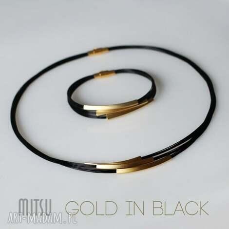 komplety komplet gold in black, nowoczesny, minimalistyczny, uniwersalny, prosty