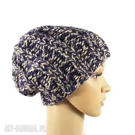 grubaśna czapka melanżowa robiona na drutach - czapka, melanżowa