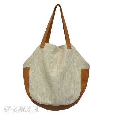 24-0007 beżowo-złota torebka damska worek / torba na studia swallow, markowe-torebki