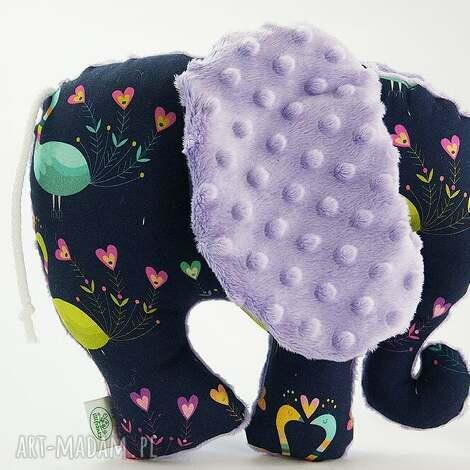 słoń pawie fioletowy - przytulanka, słoń, słonik, maskotka
